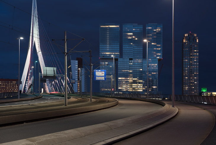 Erasmus Bridge by UNStudio, De Rotterdam Building by OMA-Rem Koolhaas, Rotterdam, NL